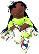 Sugarfoots Doll - African Lady Print - Coco Skin