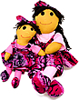 Sugarfoots Doll Pair - Strawberry Adinkra - Ginger Skin