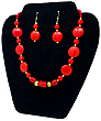 Coral Fire Necklace & Earrings
